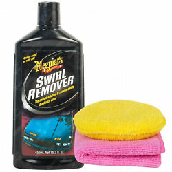 Meguiarand039s Car Swirl Mark And Scratch Remover Polish 450ml + Microfibre Cloth And Pad