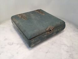 Antique Mossy Light Blue Silk Velvet Glove Sawing Box Jewelry French
