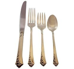 Damask Rose By Oneida Sterling Silver Flatware Set For 8 Service 32 Pieces