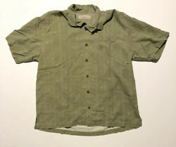 TOMMY BAHAMA 100% Silk Its Only Money Embroidered Camp Shirt Mens Large