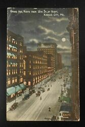 1910s Grand Ave. North From 12th St @ Night Trolleys Antique Cars Kansas City Mo