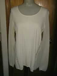 Lucky Brand-l/s-ivory Knit Top-rolled Scoop Neck-mesh Slvs And Sides-lace Trim-l
