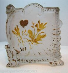 Victorian Playing Card Holder Frosted Glass Four Suits Antique Decorative Arts