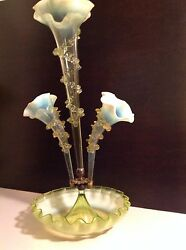 Antique Victorian Glass Epergne Green Opalesce With 3 Trumpets
