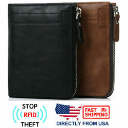 RFID Blocking Men's Simple Leather Zipper Coin Pocket Photo Holder Bifold Wallet