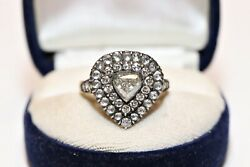 Antique Style 14k Gold Diamond And Rose Cut Diamond Decorated Drop Ring