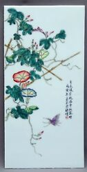Chinese Porcelain Plaque Republic Period Flower Butterfly Signed Chen Baosi