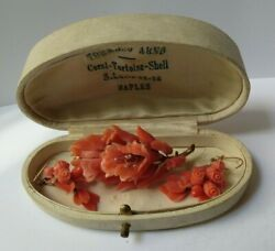 Antique Italian Gold Carved Coral Flowers Pin And Pierced Earrings Set In Box