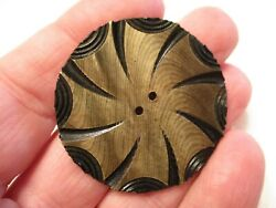 Amazing 1 3/4 Vintage Carved Celluloid Pinwheel Wafer Clothing Button