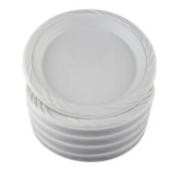 100 White 9 Plastic Party Plates Disposable Dinner Party Microwavable Dishes