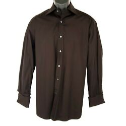 Mens Button Front Shirt Brown Long Sleeve French Cuff 100 Cotton 16