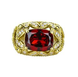 18k Yellow Gold Diamond And Red Glass Patterned Ring 0.62 Carats