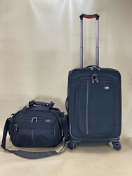 """Victorinox Werks Set 14"""" Deluxe Tote And 22 Wt 4.0dual Caster Expandable Carry-on"""