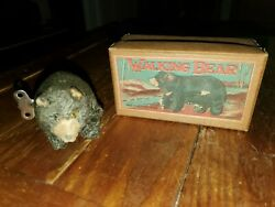 Vintage Wind-up Walking Bear Toy With Box Made In Occupied Japan
