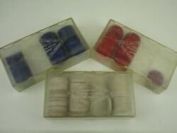 Vintage Lot Of 3 B.c. Wills Detroit Used Distressed Paper Poker Chips With Cases