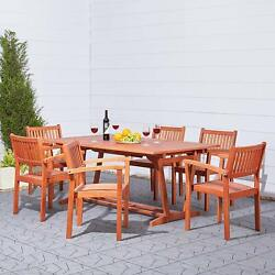 Vifah Malibu Outdoor 7-piece Patio Dining Set With Stacking Chairs Natural New