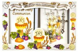 First Holy Communion 6mm Pearl Rosary And Prayer Booklet Set