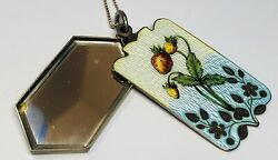 Antique Art Nouveau Floral Enamel On Silver Pendent With Mirror And 925 Chain