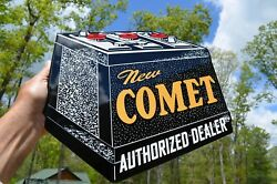 Old Style Comet 6 Volt Battery Die-cut Thick Steel Flange Sign Usa Made Mint