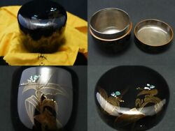 Japan Lacquer Wooden Tea Caddy Dayflower Makie O-natsume Inside Silver 0115