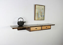 Custom Walnut Live Edge Shelf Or Floating Table With Two Drawers In A Case