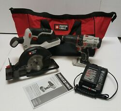 Porter-cable Pcc601 1/2 Lithium Drill And Pcc661 5 1/2 Circular Saw W/ Bag