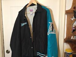 Florida Marlins Players Jacket Size Xl 100 Pollyester Black/teal Stiched