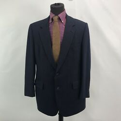 Hart Schaffner And Marx Gold Trumpeter Mens Navy Blue 2 Pc Striped Suit 44r