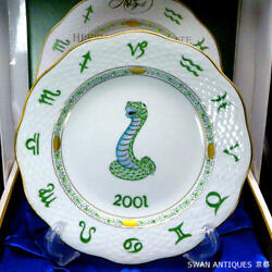 Herend Japanese Zodiac Porcelain Year's Plate 2001 Snake With Stand