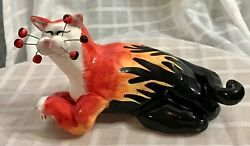 "Annaco Creations 7"" Whimsiclay Cat Hot Rod Flames by Amy Lacombe Red Black 2001"
