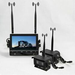 2x Wireless Rear View Backup Camera Night Vision+7 Monitor For Truck Trailer Rv