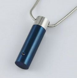 Blue Cylinder Stainless Steel Cremation Urn Pendant For Ashes W/20-inch Necklace