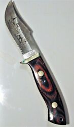 Rigid Tg-47 Surgical Steel Fixed Blade Knife With Bear On Blade And Leather Sheath