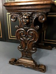 Antique French Renaissance Carved Cherub Angel Walnut And Marble Accent Side Table