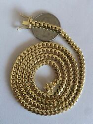Menand039s Solid 14k Yellow Gold Miami Cuban Link Chain 5mm Necklace 22-26 43-52g