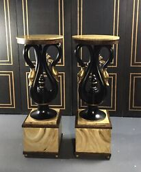 Beautiful And Rare Pair Of 1960's Swan Pedestal/french Regency Style