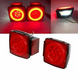 Pair Red Led Submersible Stop Brake Trailer Tail Lights Square 80 License