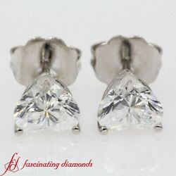 1 Carat Heart Shaped Perfectly Matched Solitaire Diamond Stud Earrings For Women
