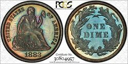 1883 Proof Seated Dime Pcgs Pr64 Toned True View