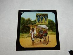 Glass Slide 3x3 Inch Early 1900s  South Africa Colonial Rickshaw And Police