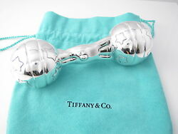 And Co New Rare Silver Vintage Teddy Bear Star Ball Baby Rattle Teether