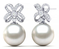 1.80ct Natural Round Diamond 14k Solid White Gold Pearl Push Back Stud Earring