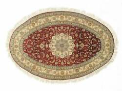 5 X 6 400 Line Silk Chinese Oval Rug 4and0396 X 6and039