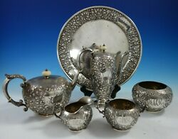 Durgin Sterling Silver Tea Set 6pc Hand Chased Flowers Scrollwork 8801 2861