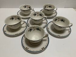 Royal Doulton Old Colony Set 6 Cups And Saucers Blue And Brown T.c. 1005 England