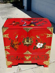 Hp Birds Lacquer Oriental Wood Jewelry Lingerie 23t Armoire Floor Cabinet Wow