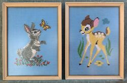Bambi And Thumper Vintage Disney 1973 Framed Art Collectible Pair Cross-stitch