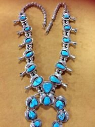 Sterling Silver And Morenci Turquoise Squash Blossom Navajo Handmade By Platero
