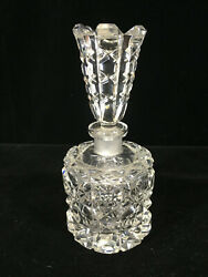 Vintage Heavy Cut Crystal Perfume Bottle With Amazing Stopper - Circa 1950