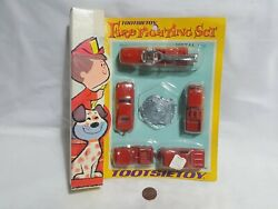 New Vintage 1969 Tootsietoy Fire Fighting Set Die-cast Firetruck Vehicle Toys